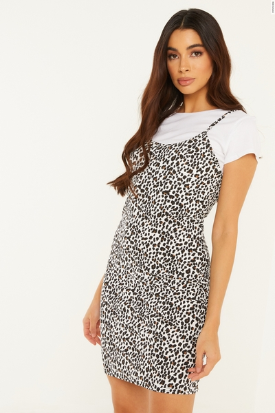 Leopard Print Ribbed Day Dress